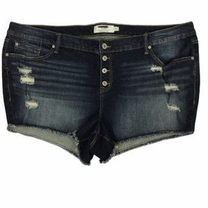 NWOT Torrid Distressed Button Fly Raw Shorts 24